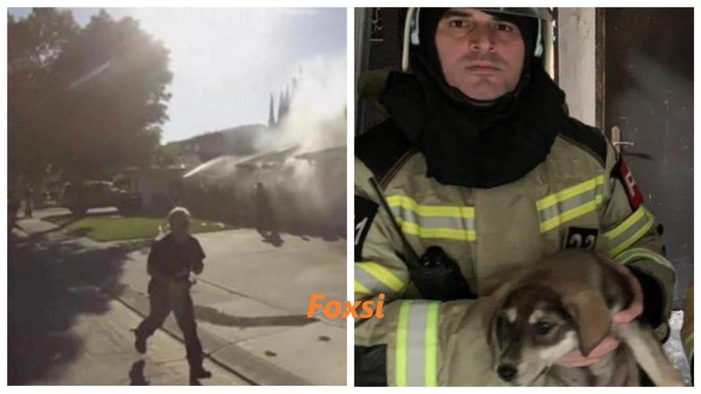 Пожарный освободил собаку, которая оказалась в ловушке возле пламени